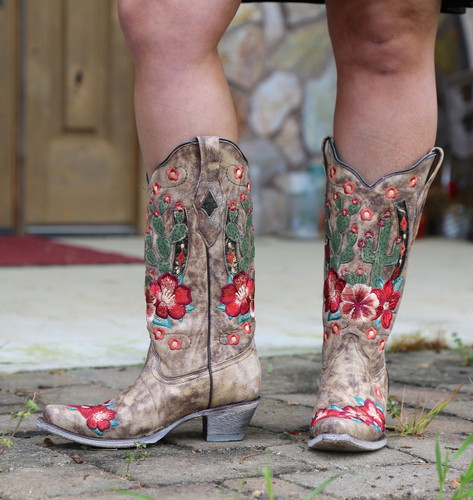 Corral Taupe Cactus Inlay and Embroidery Boots A3736 Photo