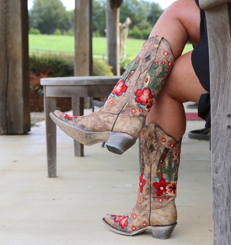Corral Taupe Cactus Inlay and Embroidery Boots A3736 Side