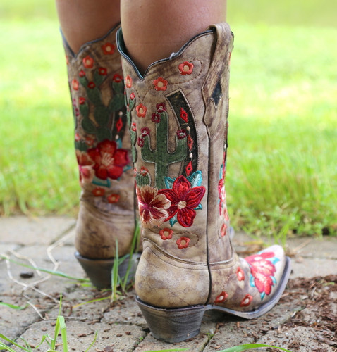 Corral Taupe Cactus Inlay and Embroidery Boots A3736 Heel