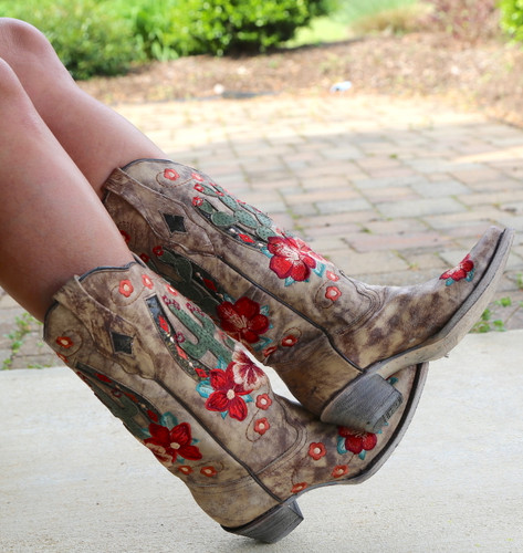 Corral Taupe Cactus Inlay and Embroidery Boots A3736 Crossed