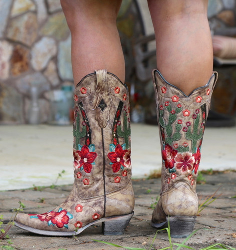 Corral Taupe Cactus Inlay and Embroidery Boots A3736 Back