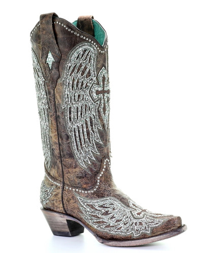 Corral Brown Cowhide Wing and Cross Embroidery and Studs Boots A3741 Picture