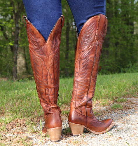 Corral Cognac Embroidery Tall Top Boots E1507 Heel
