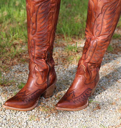 Corral Cognac Embroidery Tall Top Boots E1507 Toe