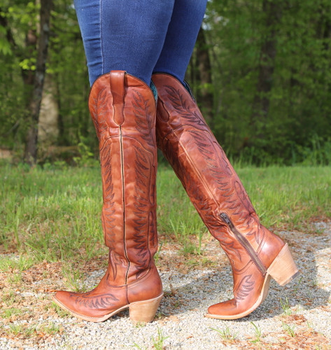Corral Cognac Embroidery Tall Top Boots E1507 Photo