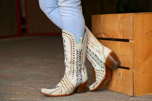 Corral White Inlay Turquoise Gold Embroidery Woven Boots C3542 Side