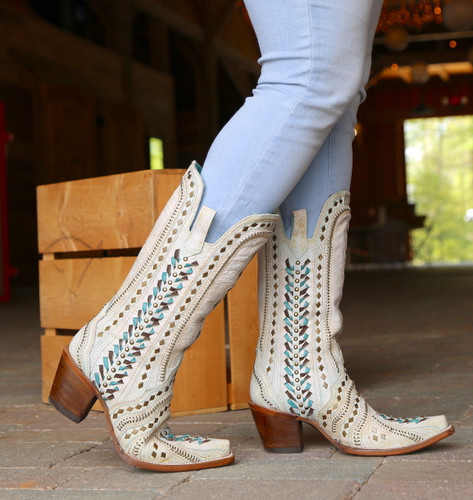 Corral White Inlay Turquoise Gold Embroidery Woven Boots C3542 Walk