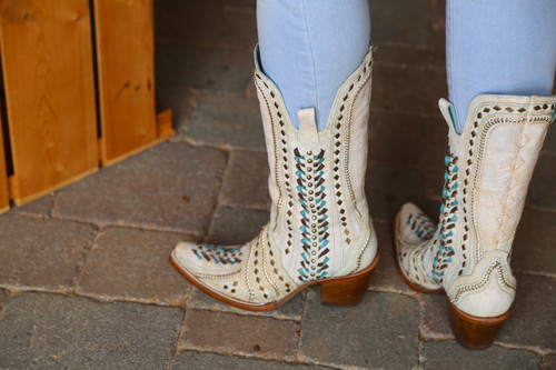 Corral White Inlay Turquoise Gold Embroidery Woven Boots C3542 Back