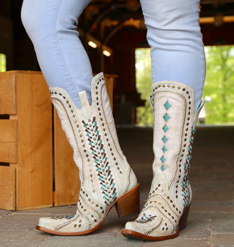 Corral White Inlay Turquoise Gold Embroidery Woven Boots C3542 Front
