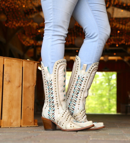 Corral White Inlay Turquoise Gold Embroidery Woven Boots C3542 Image