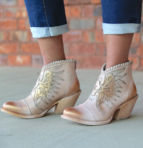 Corral Pink Eagle Inlay Ankle Boot Z0082 Photo