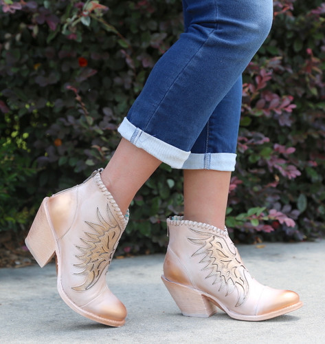 Corral Pink Eagle Inlay Ankle Boot Z0082 Walk