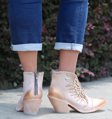 Corral Pink Eagle Inlay Ankle Boot Z0082 Zipper
