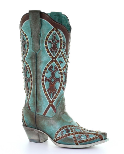 Corral Turquoise Brown Overlay Embroidery Studs Boots E1514 Picture