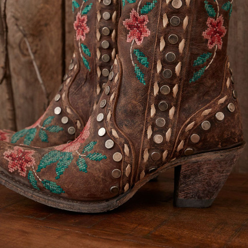 Junk Gypsy by Lane Wild Stitch Brown Needlepoint Boots JG0053B Detail