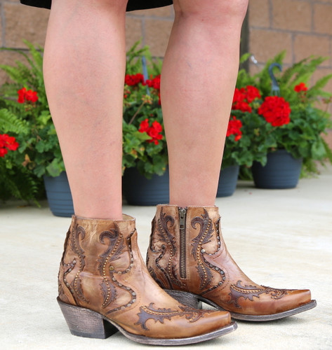 Corral Tan Studs and Overlay Ankle Boot G1382 Photo