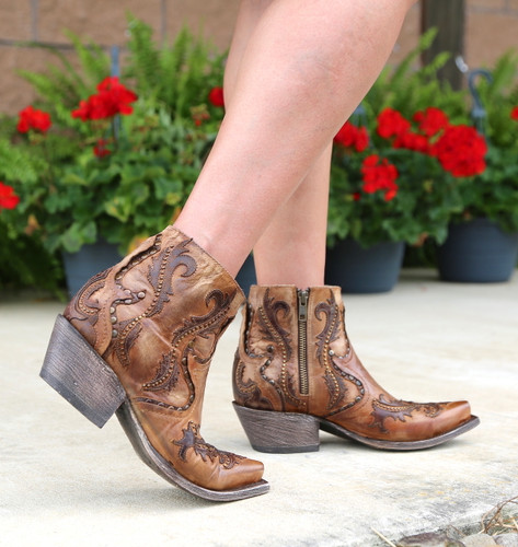 Corral Tan Studs and Overlay Ankle Boot G1382 Walk