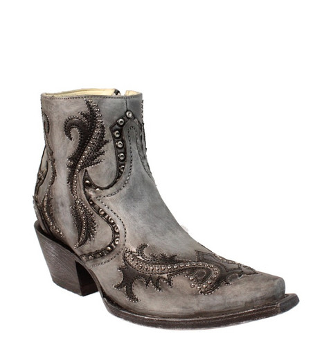 Corral Grey Studs and Overlay Ankle Boot G1381