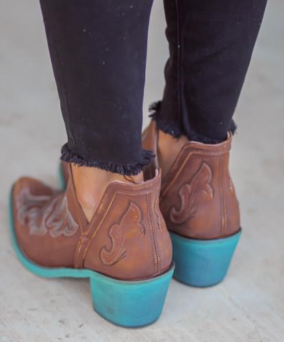 Corral Cognac Embroidery Shoe Boot Q0099 Heel