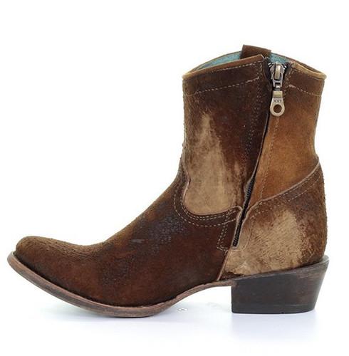Corral Chocolate Tan Lamb Abstract Short Boot C1064 Zipper