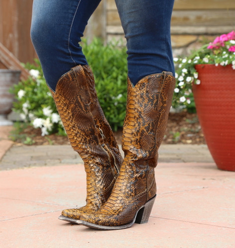 Corral Tan Full Python Zipper Tall Top Boots A3667 Picture