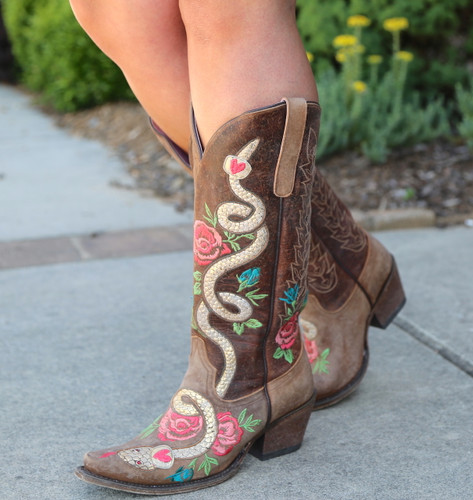 Junk Gypsy by Lane Charmer Brown Boots JG0054A Snake