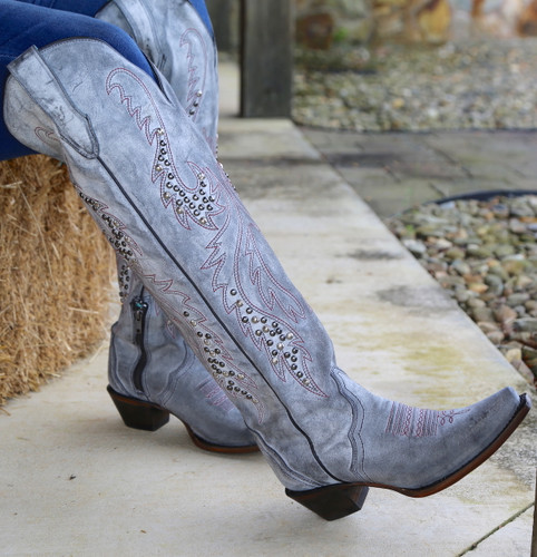 Corral Grey Embroidery and Studs Tall Top Boots C3544 Image