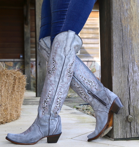 Corral Grey Embroidery and Studs Tall Top Boots C3544 Picture