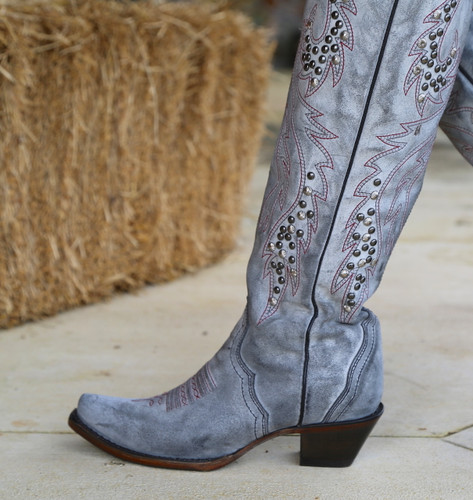 Corral Grey Embroidery and Studs Tall Top Boots C3544 Detail
