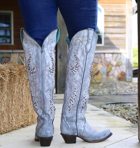 Corral Grey Embroidery and Studs Tall Top Boots C3544 Heel