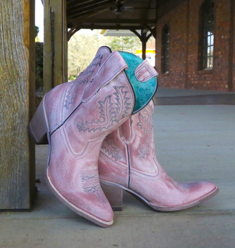 Corral Rose Pink Embroidery Ankle Boot E1462 Picture