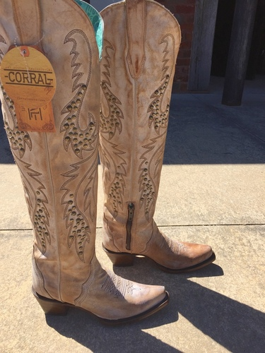 Corral Saddle Embroidery and Studs Tall Top Boots C3543 Picture