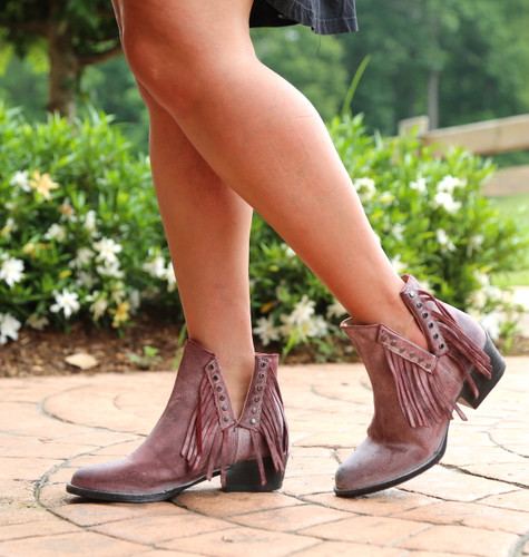 Corral Wine Studs and Fringe Bootie Q5092 Picture