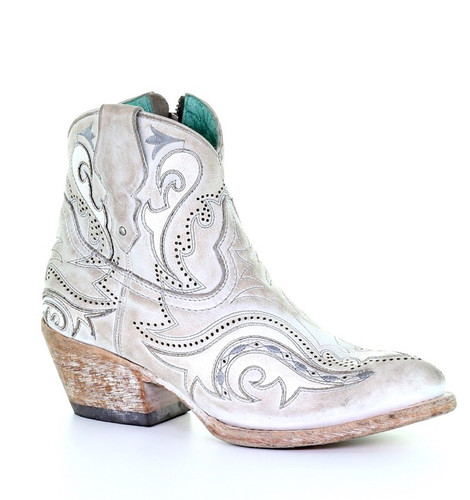 Corral White Overlay Embroidery Ankle Boot G1479 Image