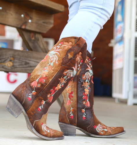Corral Chocolate Lamb Floral Embroidery Boots A3597 Walk