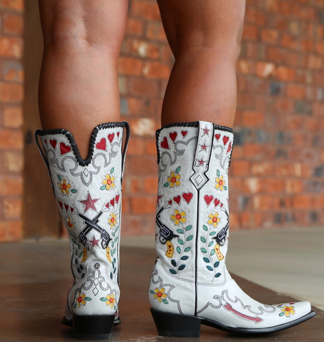 Double D by Old Gringo Cowgirl Bandit White Boots DDL041-2 Heel
