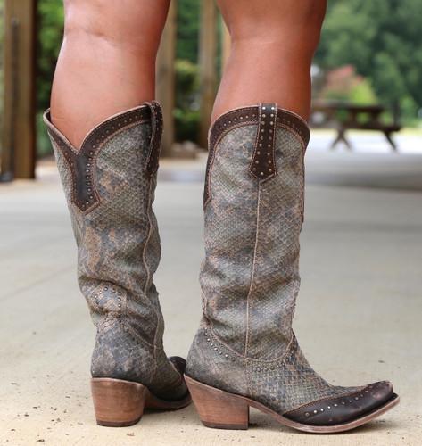Liberty Black Tall Python Verde Boots LB71166 Heel