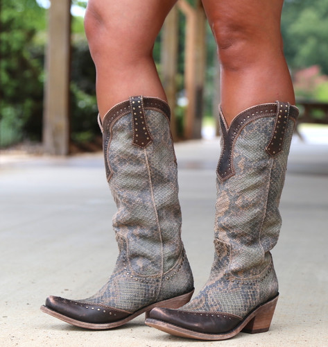 Liberty Black Tall Python Verde Boots LB71166 Picture