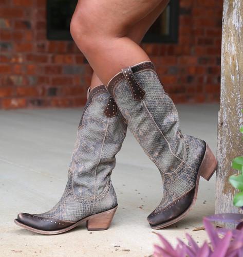 Liberty Black Tall Python Verde Boots LB71166 Image