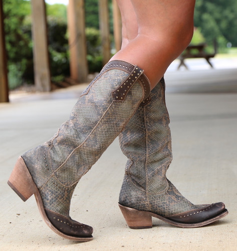 Liberty Black Tall Python Verde Boots LB71166 Photo