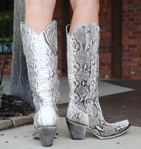 Corral Natural Python Zipper Tall Top Boots A3789 Heel