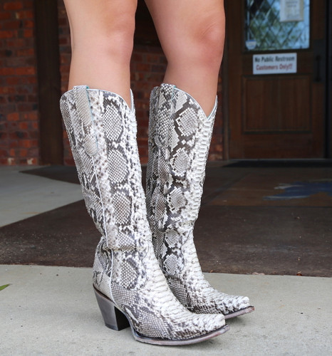 Corral Natural Python Zipper Tall Top Boots A3789 Photo