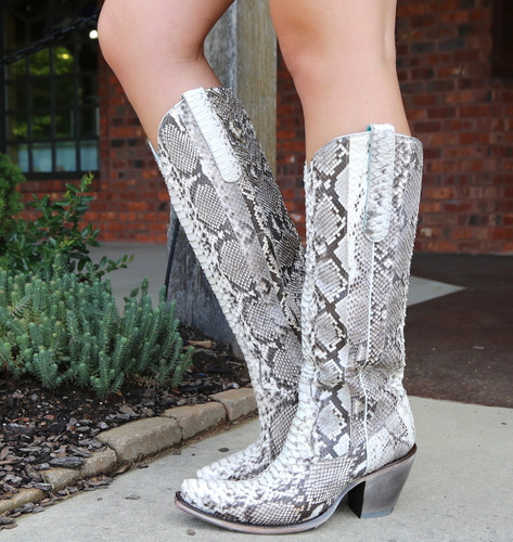 Corral Natural Python Zipper Tall Top Boots A3789 Picture