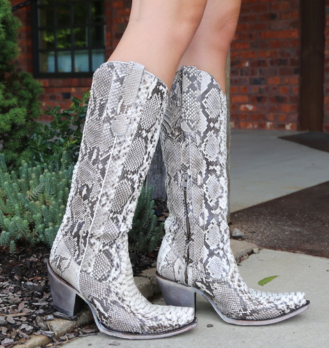 Corral Natural Python Zipper Tall Top Boots A3789 Image