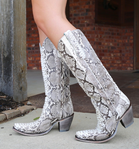 Corral Natural Python Zipper Tall Top Boots A3789 Walk