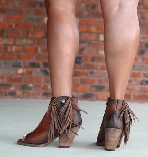 Liberty Black Delano Cotto Concho Fringe Peep Toe Boots LB712807 Heel