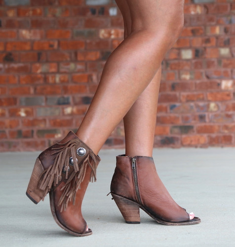 Liberty Black Delano Cotto Concho Fringe Peep Toe Boots LB712807 Image