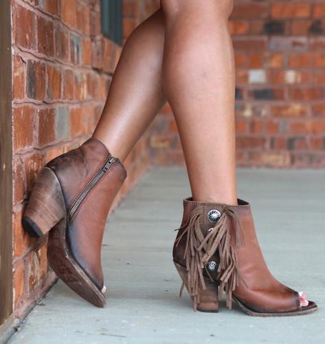 Liberty Black Delano Cotto Concho Fringe Peep Toe Boots LB712807 Photo