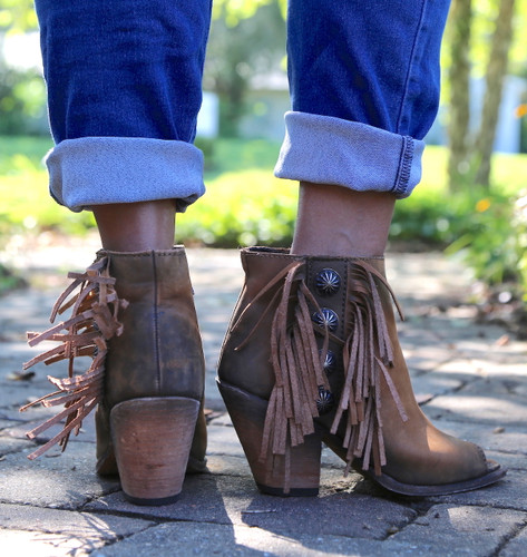 Liberty Black Vegas Faggio Concho Fringe Peep Toe Boots LB712807 Photo