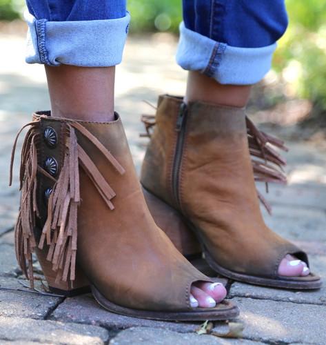 Liberty Black Vegas Faggio Concho Fringe Peep Toe Boots LB712807 Picture